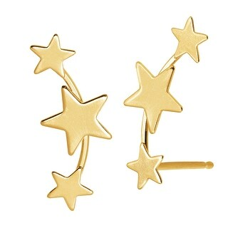Just Gold Three-Star Ear Climber Studs in 14K Gold - YELLOW