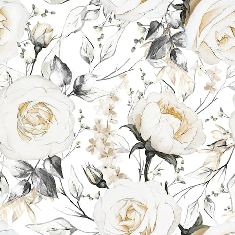 Oil Painted Roses Removable Wallpaper - 24'' inch x 10'ft