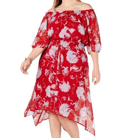 Tommy Hilfiger Women Dress True Red Size 24W Plus A-Line Off Shoulder