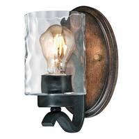 """Westinghouse 6331600 Barnwell Single Light 5"""" Wide Bathroom Sconce - textured iron/barnwood"""