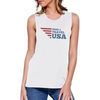 Seek & Travel USA Womens White Sleeveless Tee Round Neck Cotton