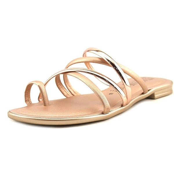 Italian Shoe Makers Elora Women Open Toe Leather Pink Slides Sandal