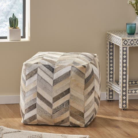 Medlock Handcrafted Boho Cowhide Pouf by Christopher Knight Home