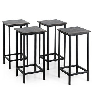 """Set of 4 Bar Stools 24"""" Counter Height Backless with Metal Frame"""