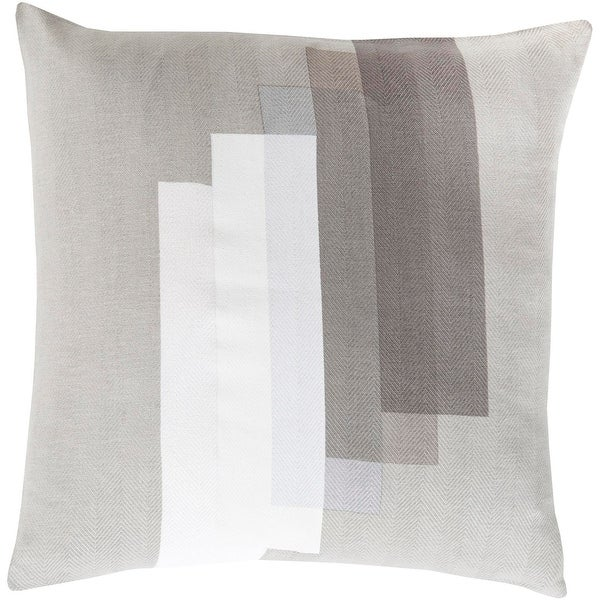 """20"""" White and Grey Geometric Pattern Woven Screen Printed Square Throw Pillow"""
