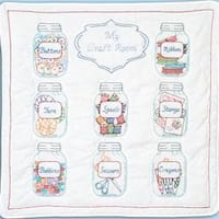 "Mason Jars - Stamped White Wall Or Lap Quilt 36""X36"""