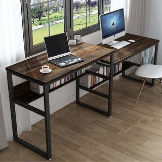Link to 94.48 Inches Two Person Desk High Low Two Desk - Rustic-brown Similar Items in Computer Desks