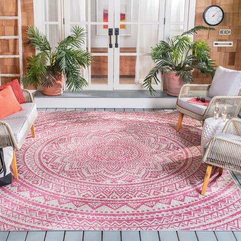 SAFAVIEH Courtyard Fran Mandala Indoor/ Outdoor Patio Backyard Rug