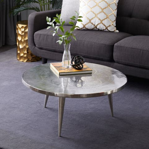Silver aluminum Traditional Coffee Table 16 x 35 x 35 - 35 x 35 x 16Round