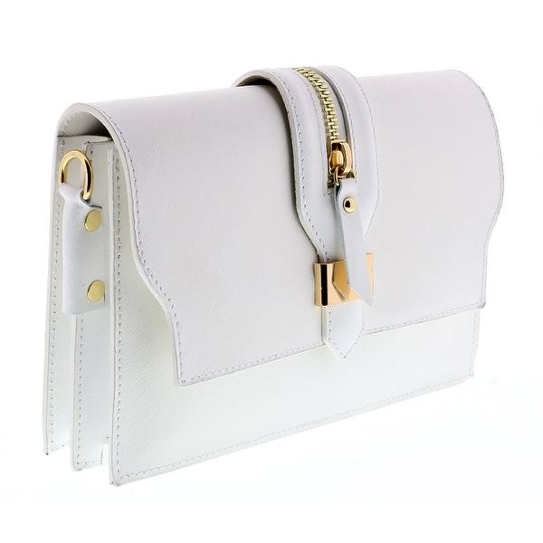 HS1168 BI CLO White Leather Clutch/Shoulder Bag