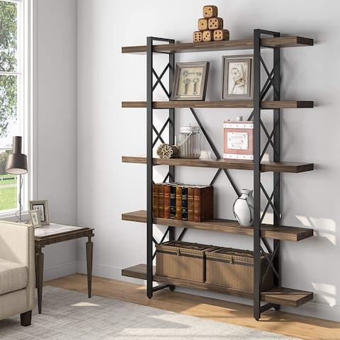 Tribesigns Rustic 5-Tier Open Solid Wood Etagere Bookcase Bookshelf