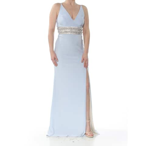XSCAPE Womens Light Blue Beaded Plunge Gown Sleeveless V Neck Maxi Formal Dress Plus Size: 10