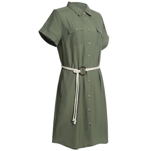 Women's Plus Size Summer Short Sleeve Midi Dress Tencel Shirt Dress