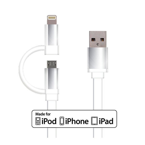 Idea Lightning Cable with Micro USB Dual 2-in-1 Sync and Charge Cable - 3.2 ft