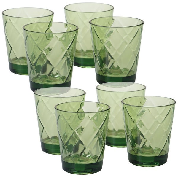 8pc Green Contemporary DOF Glass Ice Tea Cup Set 15 oz.