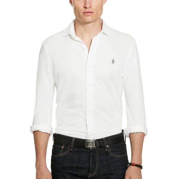 White Knit Dress Shirt