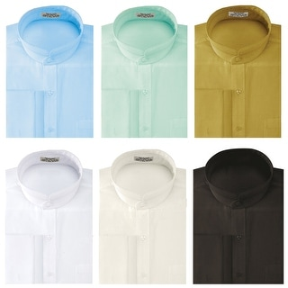 Link to Men's Solid Banded Collar French Cuff Dress Shirt Solid Color Similar Items in Shirts