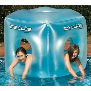 "49"" Water Sports Inflatable Ice Cube Habitat Swimming Pool Float - Blue"