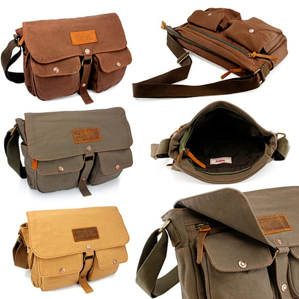8f1eab39e79d Men  x27 s Vintage Canvas Leather Satchel School Military Shoulder Messenger  Crossbody Hiking Bag