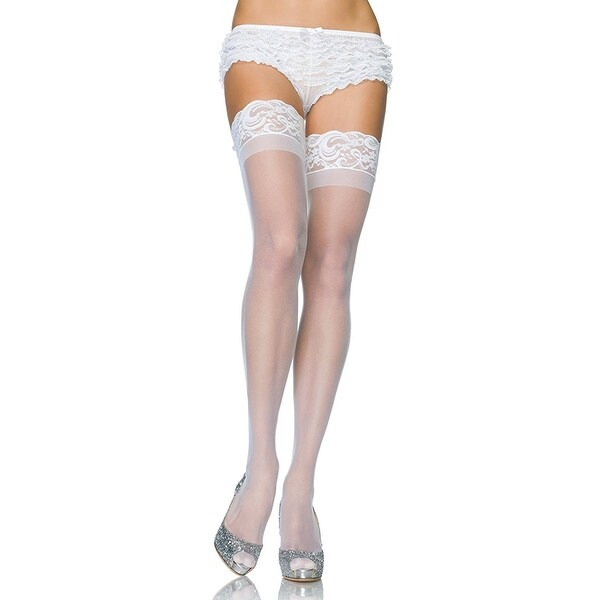 abe8f8251109b Shop Thigh Hi Stay Up Lycra Sheer Women's Costume Hosiery, White - Free  Shipping On Orders Over $45 - Overstock.com - 17883965