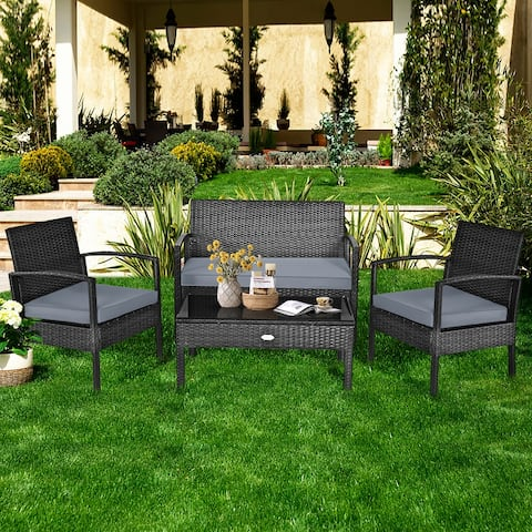 Gymax Patio Garden 4PC Rattan Wicker Furniture Set Black - 4-Piece Sets