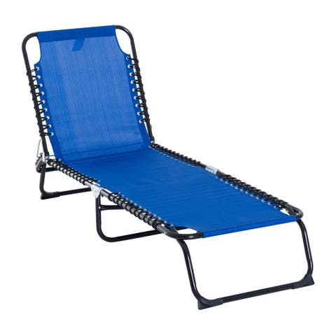 Outsunny 3-Position Reclining Beach Chair Chaise Lounge Folding Chair with Comfort Ergonomic Design, Dark Blue