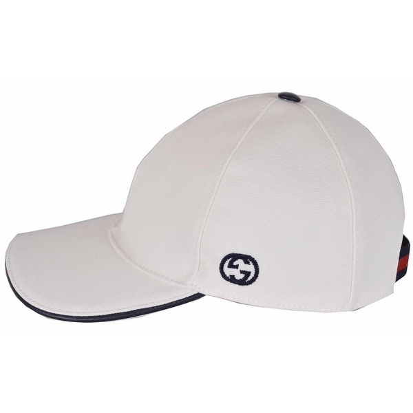 Shop Gucci Men s 387554 White Canvas Interlocking GG Web Baseball Cap Hat M  - Free Shipping Today - Overstock - 12177658 a00b3f0c33c4