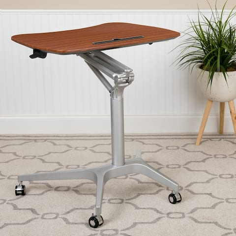 Mobile Sit-Down, Stand-Up Ergonomic Computer Desk - Standing Desk