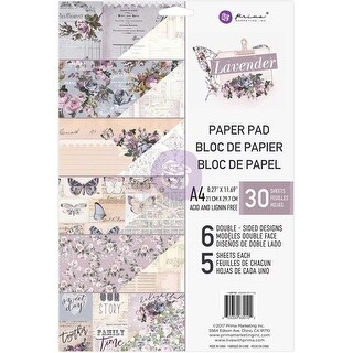 Prima Marketing Double-Sided Paper Pad A4 30/Pkg-Lavender, 6 Designs/5 Each