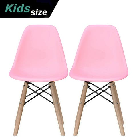 Set of Two Kids Toddler Chair Side Armless Natural Wood Legs Eiffel For Kitchen Desk Work Bedroom Playroom Preschool