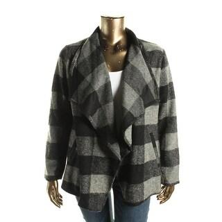 BB Dakota Womens Plus Wool Plaid Jacket