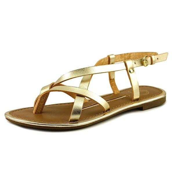 New Directions Juliana Women Open Toe Synthetic Gold Gladiator Sandal