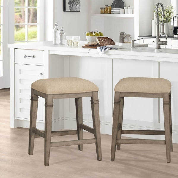 """The Gray Barn Chatterly Backless Non-swivel Counter Stool - 18.5""""W x 15.75""""L x 25.25""""H. Opens flyout."""