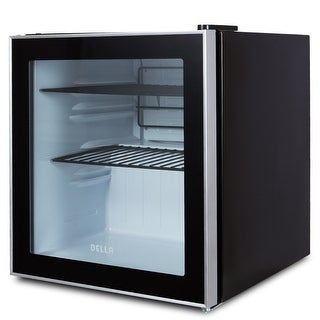 Della Beverage Center Compact Built-In Cooler Mini Refrigerator , Reversible Door -Black