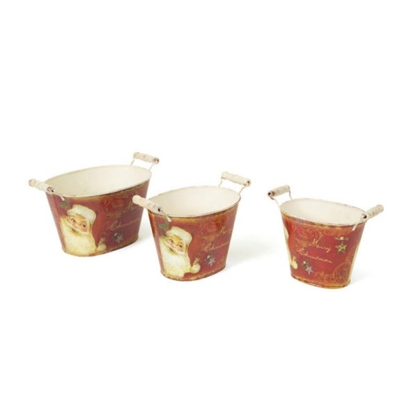 Set of 3 Retro Santa Claus Oval Vintage Style Decorative Buckets with Handles - RED