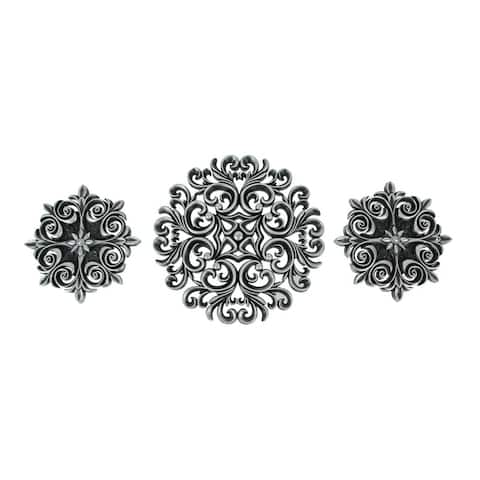 Set of 3 Mid Century Modern Medallion Wall Sculptures Metallic Finish