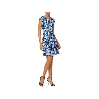 Jessica Howard Womens Petites Casual Dress Floral Print Belted