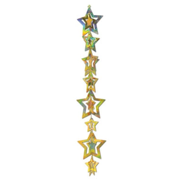 Pack of 12 3-D Gold Prismatic Foil Interlocking Star Garland Party Decorations 40""