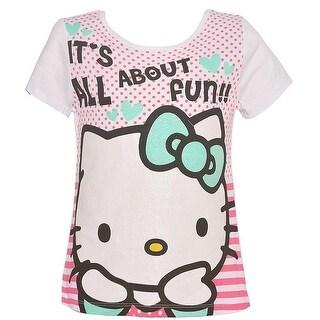 Hello Kitty Girls White Kitty Stripe Dot Letter Print Cotton Tee