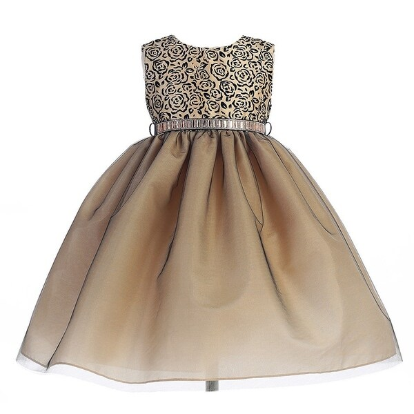 4239c1f31 crayon kids little girls taupe black rose swirl pattern christmas dress 2t