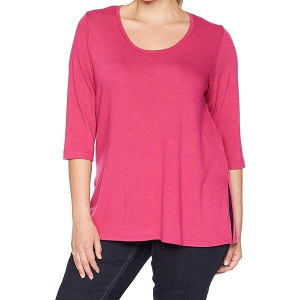 Karen Kane Womens Sweater Pink Size 1X Plus Scoop Neck 3/4 Sleeve