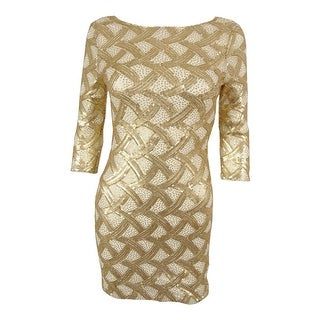 As U Wish Juniors' 3/4 Sleeves Sequined Mini Dress
