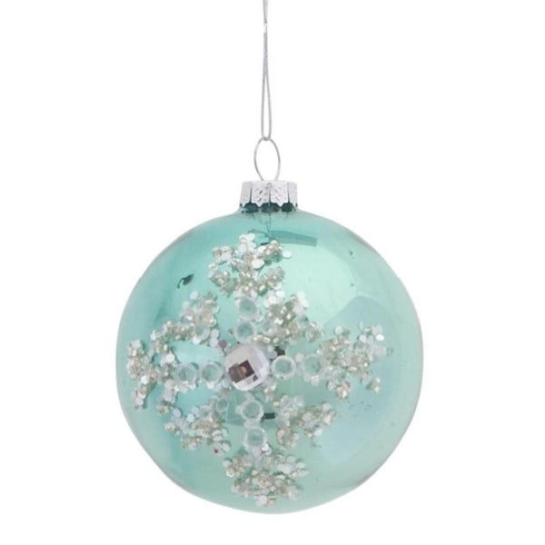 "3.5"" Silent Luxury Pale Green Jeweled Icy Snowflake Glass Ball Christmas Ornament"
