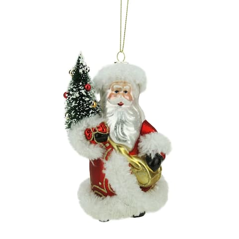 """5.5"""" Red and White Old World Santa with Tree Glass Christmas Ornament"""