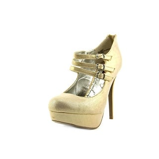 Material Girl Kristen Open Toe Canvas Platform Heel