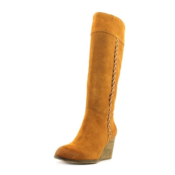 48ba75a31d2 Shop Lucky Brand Sanna Women Round Toe Suede Tan Knee High Boot ...