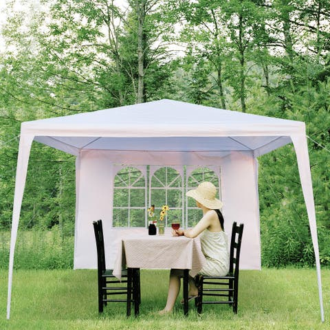 10x10ft Upgraded Outdoor Gazebos Wedding Party Canopy Tent 0/3/4 Sides