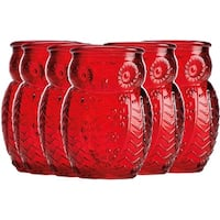 Palais Glassware 'Chouette' Colored Shot glass Set of 6 Owl Shot Glasses (Red)