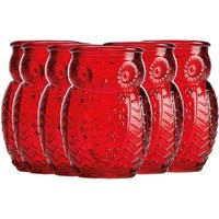 Palais Glassware Chouette Colored Shot glass Set of 6 Owl Shot Glasses Red.