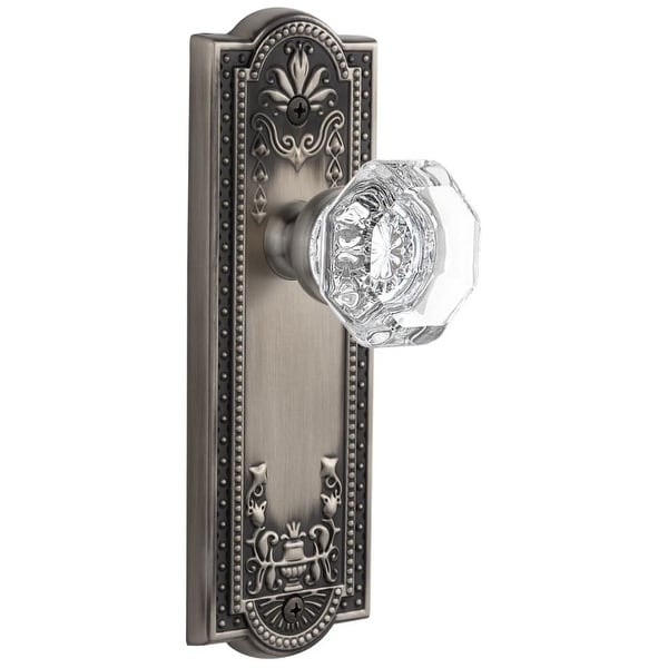 "Grandeur PARCHM_PSG_238 Parthenon Solid Brass Rose Passage Door Knob Set with Chambord Crystal Knob and 2-3/8"" Backset"